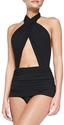 Norma Kamali Cross Halter Mio Swimsuit, Black