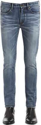 Saint Laurent 15.5cm Cotton Denim Jeans W/ Logo Patch