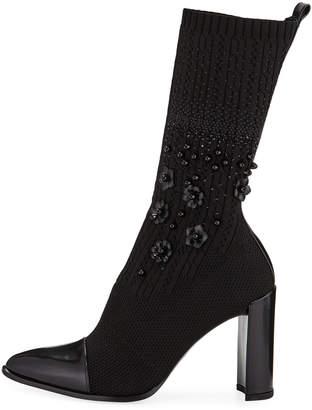 Stuart Weitzman Sockhop Knit Glove Mid-Calf Boots
