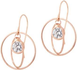 Diamonique Floating Stone Dangle Earrings, 14K Gold