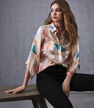 Reiss Semina Silk Wide Sleeved Blouse