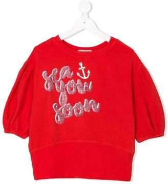 Goganga slogan print puff-sleeve top