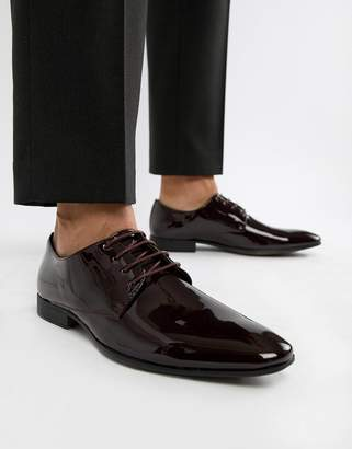 Moss Bros patent oxford shoes in burgundy