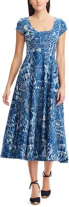 Chaps Women's Tropical Fit & Flare Midi Dress