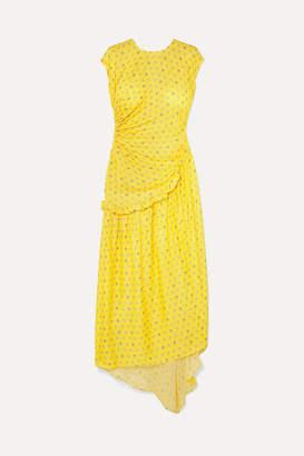 Preen by Thornton Bregazzi Aubrey Gathered Ruffled Floral-jacquard Maxi Dress - Yellow