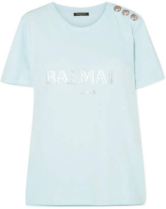 Balmain Button-embellished Printed Cotton-jersey T-shirt - Blue