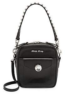 Miu Miu Women's Rhinestone-Embellished Leather Crossbody Bag