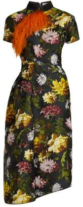 Preen by Thornton Bregazzi Alicia Asymmetric Floral Jacquard Dress - Womens - Black Multi