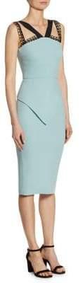 Roland Mouret Malton Contrast-Trim Wool Dress