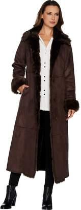 Dennis Basso Full Length Faux Shearling Coat - Regular