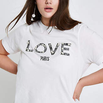 River Island Plus white 'love' pearl embellished T-shirt