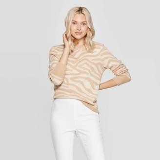 A New Day Women's Animal Print Long Sleeve Rib-Knit Cuff Crewneck Pullover Sweater