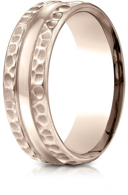 Benchmark 14K Rose Gold 7.5mm Comfort-Fit Hammered Center Cut Design Wedding Band