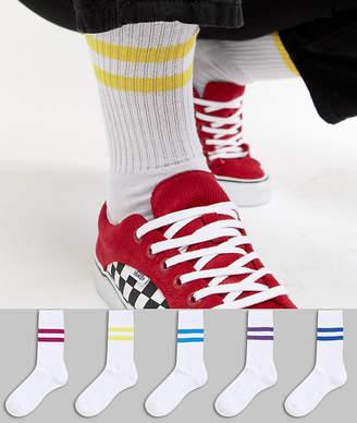 Asos DESIGN Sports Socks With Jewel Stripes 5 Pack