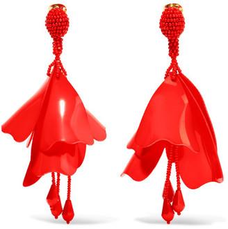 Oscar de la Renta - Large Impatiens Resin Clip Earrings - Red $425 thestylecure.com