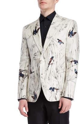 Dolce & Gabbana Bird Print Silk Jacket