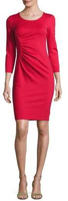 Armani Collezioni Ruched 3/4-Sleeve Sheath Dress, Red
