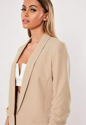 Missguided Nude Ruched Sleeve Blazer
