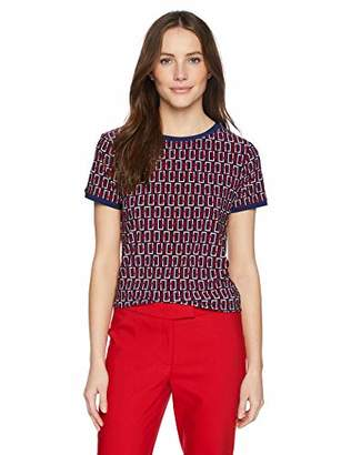Anne Klein Women's Button Back TOP Blue/Marine RED Combo