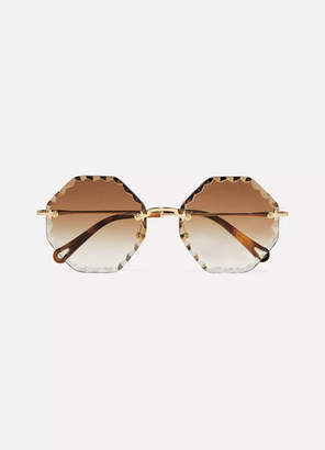 Chloé Octagon-frame Gold-tone Sunglasses - Brown