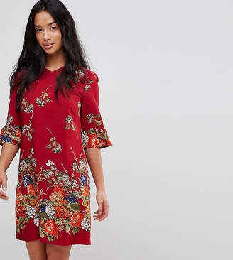 Yumi Petite Frill Sleeve Shift Dress in Floral Border Print