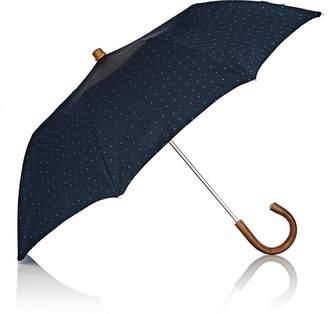 Barneys New York Men's Dot Jacquard Tech-Twill Folding Umbrella