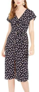 Trixxi Juniors' Floral-Print Button-Front Midi Dress