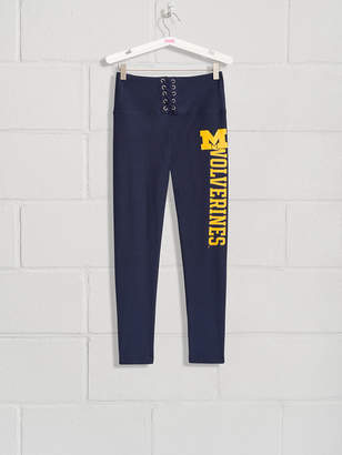 PINK University of Michigan High Waist Lace-Up Fleece Lined Legging