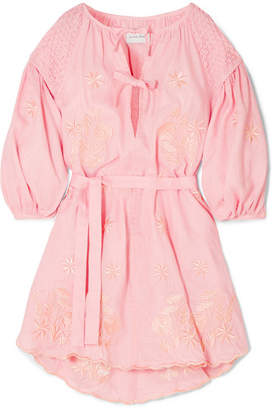 Innika Choo - Smocked Embroidered Linen Dress - Pink