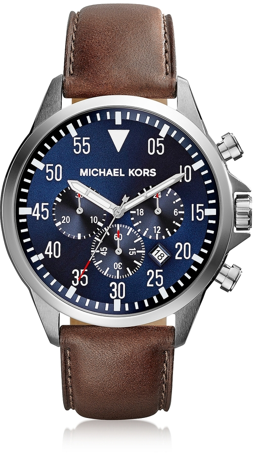 michael kors watches jewellery for men shopstyle michael kors gage silver tone stainless steel case and brown leather strap men s chrono watch