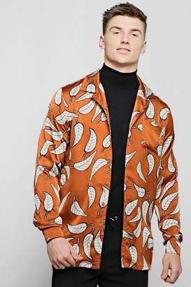 boohoo Rust Leaf Print Revere Long Sleeve Shirt