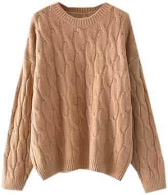 Goodnight Macaroon 'Hepburn' Camel Cable Knit Crewneck Sweater