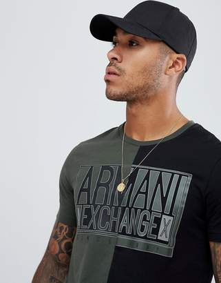 Armani Exchange box logo cut & sew t-shirt in khaki/black