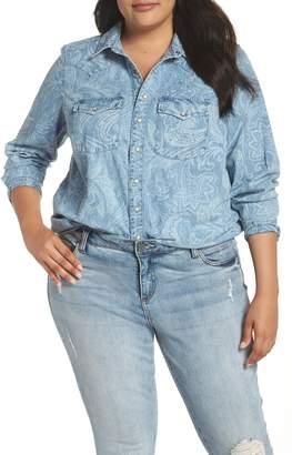 Lucky Brand Paisley Western Chambray Shirt