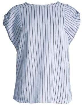 Tibi Striped Short-Sleeve Buckle Top