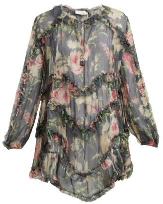 Zimmermann Iris Floral Printed Sheer Silk Top - Womens - Charcoal Print