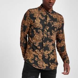 River Island Black and gold baroque print slim fit shirt