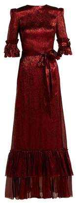 Blend of America The Vampire's Wife - Veneration Ruffle Trimmed Silk Blend Dress - Womens - Red