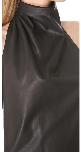 Wes Gordon Leather Turban Halter Top