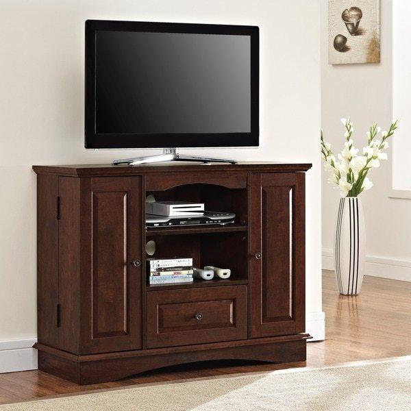 Walker Edison Brown Wood 42-inch Highboy TV Stand