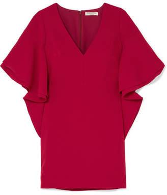 Halston Ruffled Crepe Mini Dress - Red