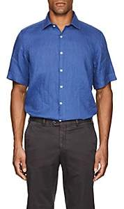 Piattelli MEN'S LINEN SHORT-SLEEVE SHIRT - BLUE SIZE XXL
