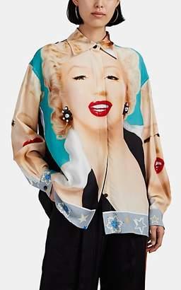 Loewe Women's Embellished Marilyn-Print Blouse - Turquoise