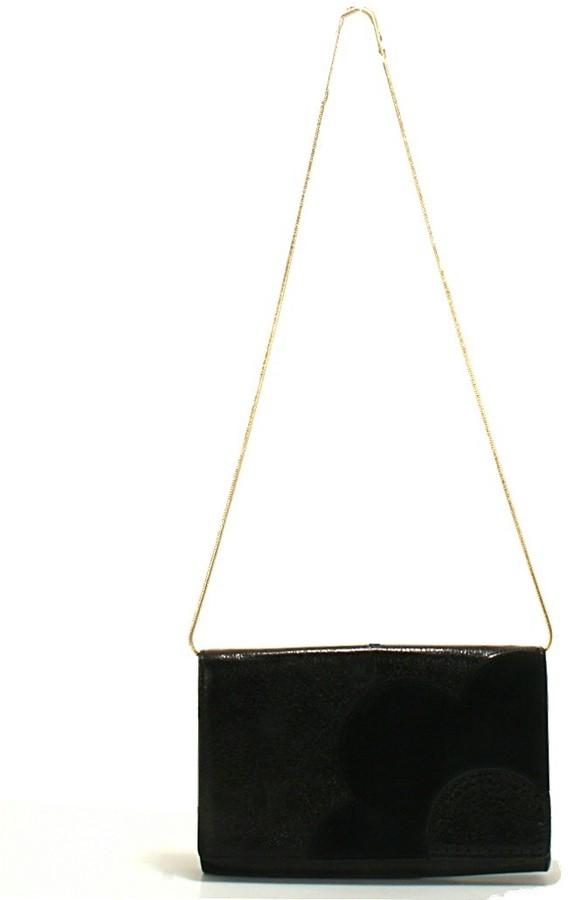 Orla Kiely Black Sparkle Leather Clutch - Black