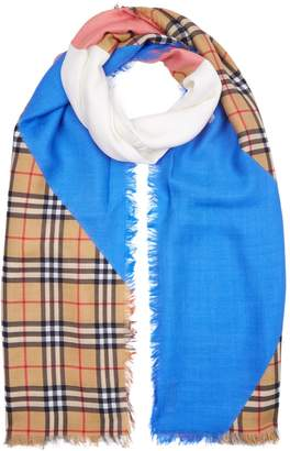 Burberry Vintage Check Colour Block Wool Silk Cashmere Scarf