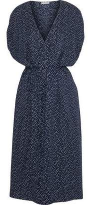 Vince Printed Stretch-Silk Midi Dress