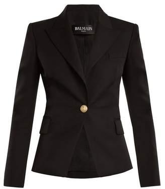Balmain Single Breasted Wool Blazer - Womens - Black