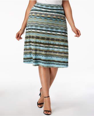 NY Collection Plus & Petite Plus Size Striped Midi Skirt