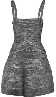 Herve Leger Faith Metallic Bandage Mini Dress