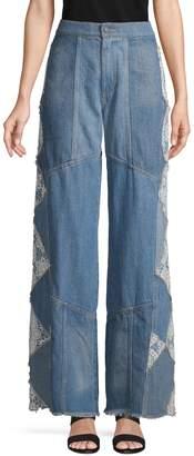 Free People Wide-Leg Fringe Jeans